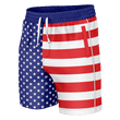 Load image into Gallery viewer, Print Brains Men's Swimsuit American Flag Swim Trunks / Blue / S American Flag Swim Trunks