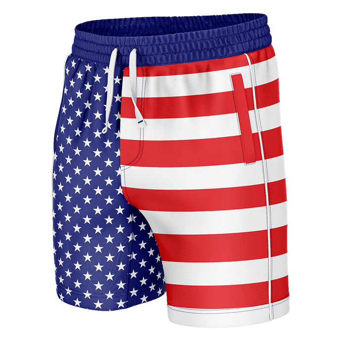 Print Brains Men's Swimsuit American Flag Swim Trunks / Blue / S American Flag Swim Trunks