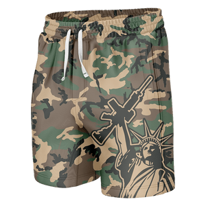 Print Brains Men's Swimsuit Camo Statue of Liberty Swim Trunks / Camo / S Camo Statue of Liberty Swim Trunks