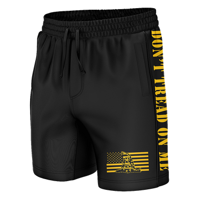 Print Brains Men's Swimsuit Don't Tread On Me Swim Trunks / Black / S Don't Tread On Me Swim Trunks