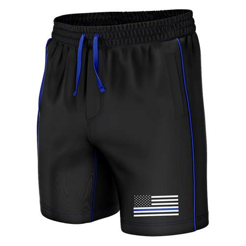 Print Brains Men's Swimsuit Thin Blue Line Swim Trunks / Black / S Thin Blue Line Swim Trunks