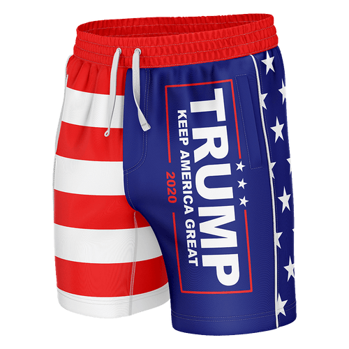 Print Brains Men's Swimsuit Trump KAG American Flag Swim Trunks / Blue / S Trump KAG American Flag Swim Trunks