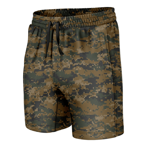 Print Brains Men's Swimsuit Woodland Digital Camo Swim Trunks / Camo / S Woodland Digital Camo Swim Trunks