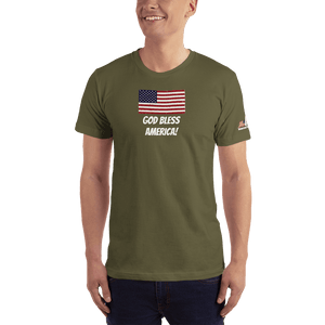 American Patriots Apparel Men's T-Shirt Army / XS God Bless America Distressed American Flag Short Sleeve T-Shirt (16 Variants)