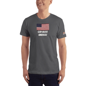 American Patriots Apparel Men's T-Shirt Asphalt / XS God Bless America Distressed American Flag Short Sleeve T-Shirt (16 Variants)