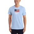 Load image into Gallery viewer, American Patriots Apparel Men's T-Shirt Baby Blue / XS God Bless America Distressed American Flag Short Sleeve T-Shirt (16 Variants)