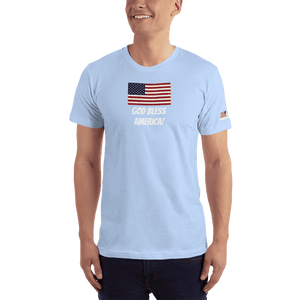 American Patriots Apparel Men's T-Shirt Baby Blue / XS God Bless America Distressed American Flag Short Sleeve T-Shirt (16 Variants)