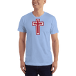 Load image into Gallery viewer, American Patriots Apparel Men's T-Shirt Baby Blue / XS Red and White Cross T-Shirt (13 Variants)