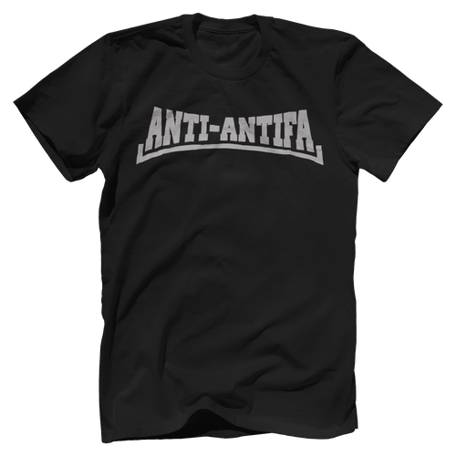 Print Brains Men's T-Shirt Bella + Canvas US Made Cotton Crew / Black / XS Anti-Antifa White Text Crew T-Shirt (4 Variants)