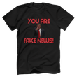 Load image into Gallery viewer, Print Brains Men's T-Shirt Bella + Canvas US Made Cotton Crew / Black / XS Fired Up Trump You Are Fake News T-Shirt (White Lettering)