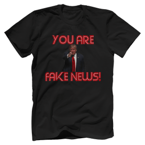 Print Brains Men's T-Shirt Bella + Canvas US Made Cotton Crew / Black / XS Fired Up Trump You Are Fake News T-Shirt (White Lettering)