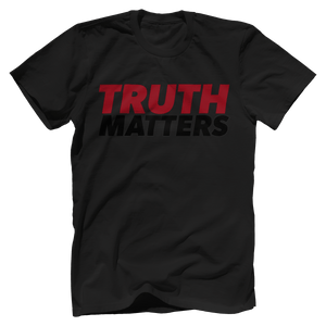 Print Brains Men's T-Shirt Bella + Canvas US Made Cotton Crew / Black / XS Truth Matters Red & Black Text T-Shirt (6 Variants)