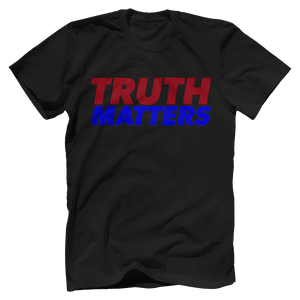 Print Brains Men's T-Shirt Bella + Canvas US Made Cotton Crew / Black / XS Truth Matters Red & Blue Text T-Shirt (6 Variants)