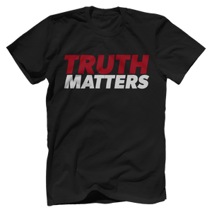 Print Brains Men's T-Shirt Bella + Canvas US Made Cotton Crew / Black / XS Truth Matters Red & White Text T-Shirt (6 Variants)