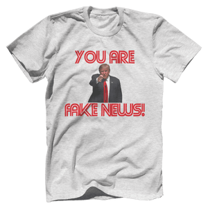 Print Brains Men's T-Shirt Bella + Canvas US Made Cotton Crew / Heather Gray / XS Fired Up Trump You Are Fake News T-Shirt (White Lettering)