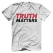 Load image into Gallery viewer, Print Brains Men's T-Shirt Bella + Canvas US Made Cotton Crew / Heather Gray / XS Truth Matters Red & Black Text T-Shirt (6 Variants)