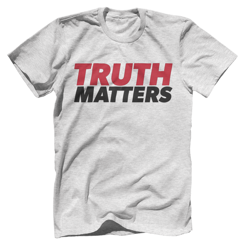 Print Brains Men's T-Shirt Bella + Canvas US Made Cotton Crew / Heather Gray / XS Truth Matters Red & Black Text T-Shirt (6 Variants)