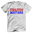 Load image into Gallery viewer, Print Brains Men's T-Shirt Bella + Canvas US Made Cotton Crew / Heather Gray / XS Truth Matters Red & Blue Text T-Shirt (6 Variants)