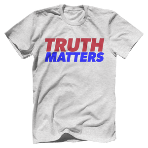 Print Brains Men's T-Shirt Bella + Canvas US Made Cotton Crew / Heather Gray / XS Truth Matters Red & Blue Text T-Shirt (6 Variants)