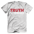 Load image into Gallery viewer, Print Brains Men's T-Shirt Bella + Canvas US Made Cotton Crew / Heather Gray / XS Truth Matters Red & White Text T-Shirt (6 Variants)