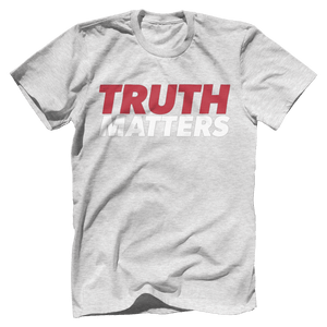 Print Brains Men's T-Shirt Bella + Canvas US Made Cotton Crew / Heather Gray / XS Truth Matters Red & White Text T-Shirt (6 Variants)