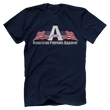 Load image into Gallery viewer, Print Brains Men's T-Shirt Bella + Canvas US Made Cotton Crew / Navy / XS American Patriots Apparel Made In The USA Tee (6 Variants)