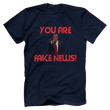 Load image into Gallery viewer, Print Brains Men's T-Shirt Bella + Canvas US Made Cotton Crew / Navy / XS Fired Up Trump You Are Fake News T-Shirt (White Lettering)