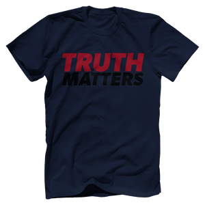 Print Brains Men's T-Shirt Bella + Canvas US Made Cotton Crew / Navy / XS Truth Matters Red & Black Text T-Shirt (6 Variants)