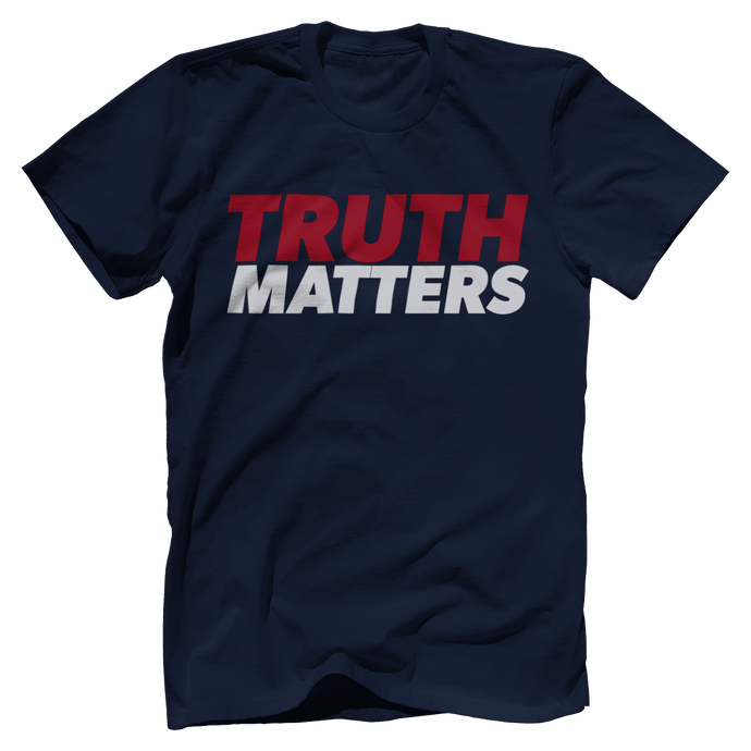 Print Brains Men's T-Shirt Bella + Canvas US Made Cotton Crew / Navy / XS Truth Matters Red & White Text T-Shirt (6 Variants)