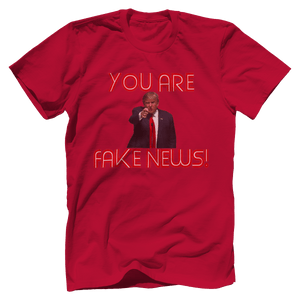 Print Brains Men's T-Shirt Bella + Canvas US Made Cotton Crew / Red / XS Fired Up Trump You Are Fake News T-Shirt (White Lettering)