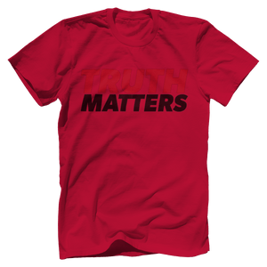 Print Brains Men's T-Shirt Bella + Canvas US Made Cotton Crew / Red / XS Truth Matters Red & Black Text T-Shirt (6 Variants)