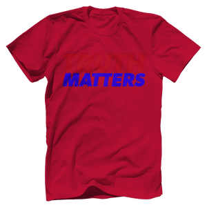 Print Brains Men's T-Shirt Bella + Canvas US Made Cotton Crew / Red / XS Truth Matters Red & Blue Text T-Shirt (6 Variants)