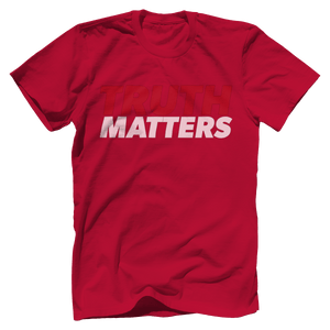 Print Brains Men's T-Shirt Bella + Canvas US Made Cotton Crew / Red / XS Truth Matters Red & White Text T-Shirt (6 Variants)