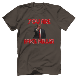 Print Brains Men's T-Shirt Bella + Canvas US Made Cotton Crew / Warm Gray / XS Fired Up Trump You Are Fake News T-Shirt (White Lettering)
