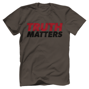 Print Brains Men's T-Shirt Bella + Canvas US Made Cotton Crew / Warm Gray / XS Truth Matters Red & Black Text T-Shirt (6 Variants)