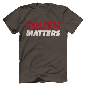 Print Brains Men's T-Shirt Bella + Canvas US Made Cotton Crew / Warm Gray / XS Truth Matters Red & White Text T-Shirt (6 Variants)