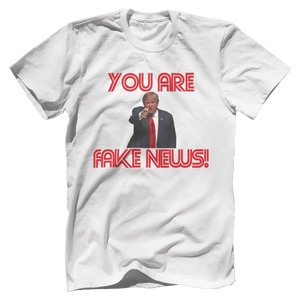 Print Brains Men's T-Shirt Bella + Canvas US Made Cotton Crew / White / XS Fired Up Trump You Are Fake News T-Shirt (White Lettering)