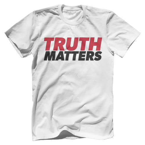 Print Brains Men's T-Shirt Bella + Canvas US Made Cotton Crew / White / XS Truth Matters Red & Black Text T-Shirt (6 Variants)