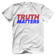 Load image into Gallery viewer, Print Brains Men's T-Shirt Bella + Canvas US Made Cotton Crew / White / XS Truth Matters Red & Blue Text T-Shirt (6 Variants)