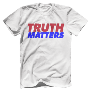 Print Brains Men's T-Shirt Bella + Canvas US Made Cotton Crew / White / XS Truth Matters Red & Blue Text T-Shirt (6 Variants)