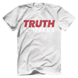 Load image into Gallery viewer, Print Brains Men's T-Shirt Bella + Canvas US Made Cotton Crew / White / XS Truth Matters Red & White Text T-Shirt (6 Variants)