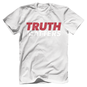 Print Brains Men's T-Shirt Bella + Canvas US Made Cotton Crew / White / XS Truth Matters Red & White Text T-Shirt (6 Variants)