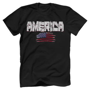 Print Brains Men's T-Shirt Black / XS / Bella + Canvas US Made Cotton Crew AMERICA Hulk Font Distressed Flag Tee (6 Variants)