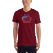 Load image into Gallery viewer, American Patriots Apparel Men's T-Shirt Cranberry / XS God Bless America Distressed Flag T-Shirt (13 Variants)