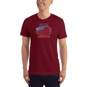 American Patriots Apparel Men's T-Shirt Cranberry / XS God Bless America Distressed Flag T-Shirt (13 Variants)