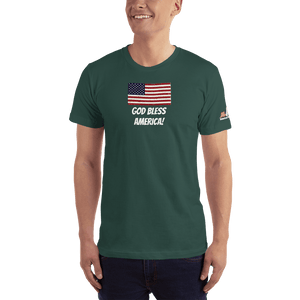 American Patriots Apparel Men's T-Shirt Forest / XS God Bless America Distressed American Flag Short Sleeve T-Shirt (16 Variants)