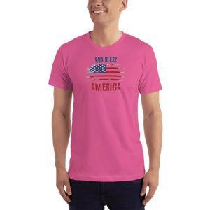 American Patriots Apparel Men's T-Shirt Fuchsia / XS God Bless America Distressed Flag T-Shirt (13 Variants)