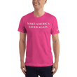 Load image into Gallery viewer, American Patriots Apparel Men's T-Shirt Fuchsia / XS Make America Saved Again 1 Cor. 15:1-4 Short Sleeve Tee (16 Variants)