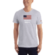 Load image into Gallery viewer, American Patriots Apparel Men's T-Shirt Heather Grey / XS God Bless America Distressed American Flag Short Sleeve T-Shirt (16 Variants)
