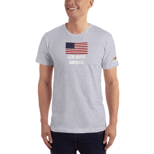American Patriots Apparel Men's T-Shirt Heather Grey / XS God Bless America Distressed American Flag Short Sleeve T-Shirt (16 Variants)